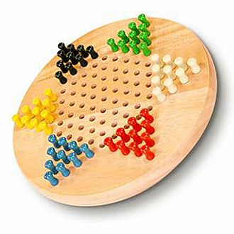 "Chinese Checkers: 7"" Wood w/ Pegs"