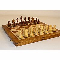 Chess 14'' Inlaid Wood Folding