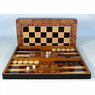 Backgammon 19'' Burl Wood Decoupage with Chess Board