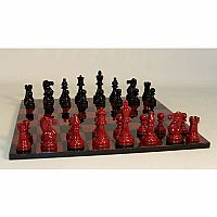 3.75 Chess Set Lacquer Red Black