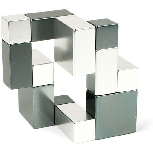 Playable art metal art cube silver and iron eureka puzzles - Cube metal rangement ...