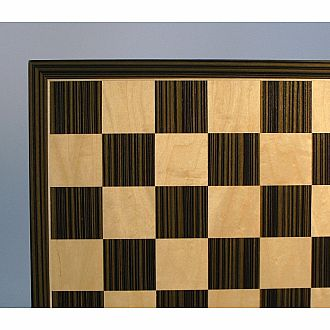 "Chess Set - 17"" Ebony/Maple Board with German Pieces: 3.25"" King with Double Queens"