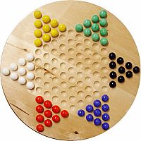 "Chinese Checkers: 12"" Wood w/ Marbles"