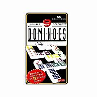 Double 9 Dominoes in Black Tin