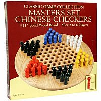"Chinese Checkers: 15"" Wood w/ Pegs"