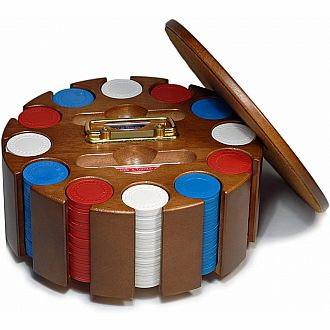 DAMAGED Walnut Poker Carousel 300 chip
