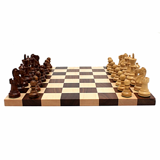 "Chess Set: 3.5"" Pieces & 2.25"" Walnut/Maple Board"