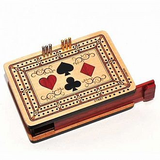 Cribbage: Inlaid Travel Set w/ 4 Suits, 4.5""