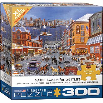 300 pc - XL Puzzle Pieces - Market Days on Fulton St by Carol Dyer