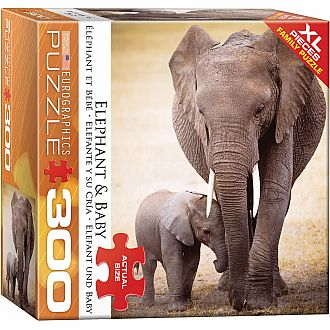 300 pc - XL Puzzle Pieces - Elephant & Baby