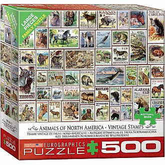 500 pc - Large Puzzle Pieces - Animals of North America - Vintage Stamps