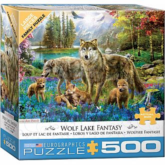 500 pc - Large Puzzle Pieces - Wolf Lake Fantasy by Jan Patrik