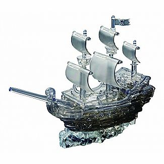 3D Crystal Pirate Ship Black