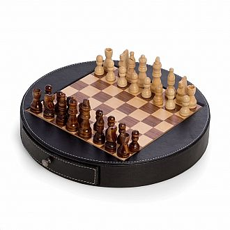 "Chess Set: 12"" Wood & Leather"