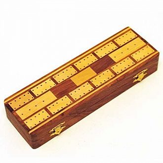 Wood Inlaid Cribbage Set