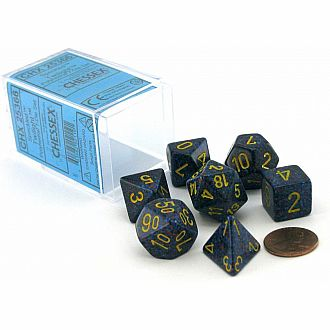 Speckled twilight polyhedral 7-die set