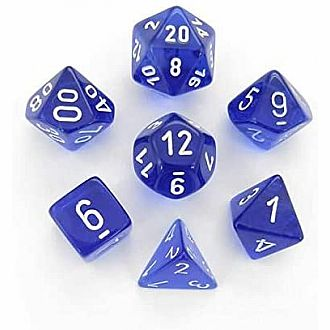 Translucent blue/white polyhedral 7-die set