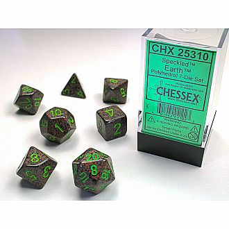 Speckled earth polyhedral 7-die set