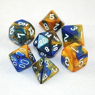 Gemini Blue-Gold/ White Polyhedral 7-Die Set