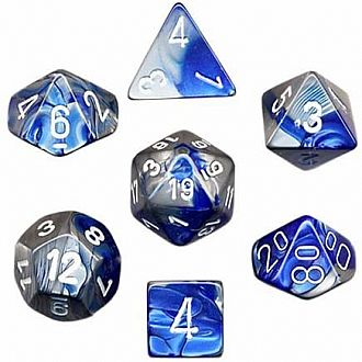 Gemini blue-steel/white polyhedral 7-die set
