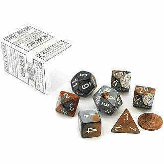 Gemini copper-steel/white polyhedral 7-die set