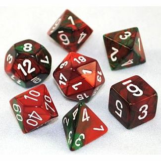 Gemini Green-Red/White Polyhedral 7-Die Set
