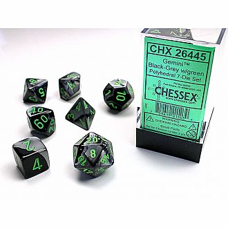 Gemini black-grey/green polyhedral 7-die set
