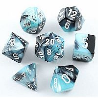 Gemini Black-Shell w/ White Polyhedral 7-Die Set