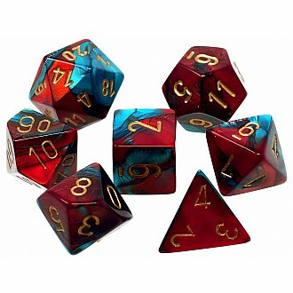 Gemini red-teal gold polyhedral 7-die set