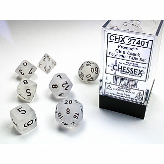 Frosted clear/black polyhedral 7-die set
