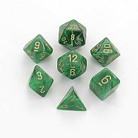 Vortex Green/Gold Polyhedral 7-Die Set