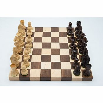 "Chess Set: 1.5"" board & 3"" wooden pieces"