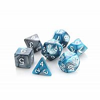 Silver & Turquoise Alloy Dice Set