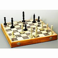 "Chess Set: 18"" Carved Stone"