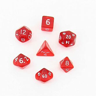 Translucent Red/white mini polyhedral 7-die set
