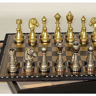 Chess Set - Staunton Metal Chessmen on Leather Chest