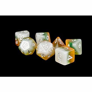16mm Resin Polyhedral Dice Set: Kiwi