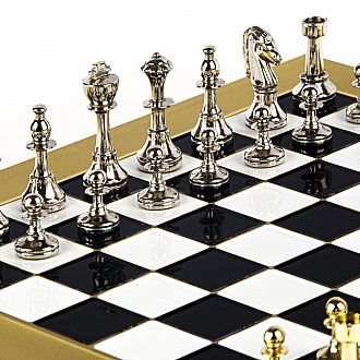 "Metal Staunton Chess set, 11"" Bronze board with gold/silver chessmen"