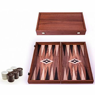8 Walnut Replica Backgammon Set w Black Oak Pts