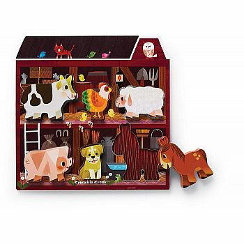 Let's Play: On the Farm Wood Puzzle Playset