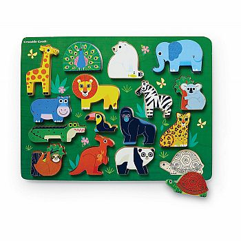 Let's Play: Zoo Wood Puzzle Playset (16 pcs)