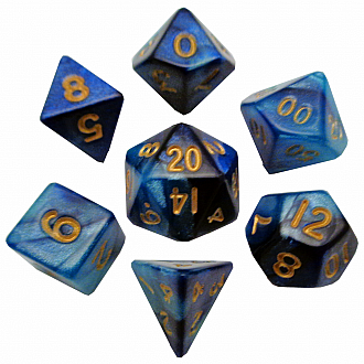 Mini polyhedral set dk bluelight blue wgold