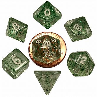 Mini polyhedral set EtherealGreen wwhite