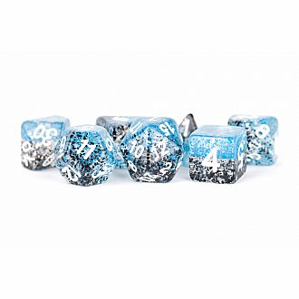 16mm Resin Polyhedral Set: Particle Dice: BlueBlack