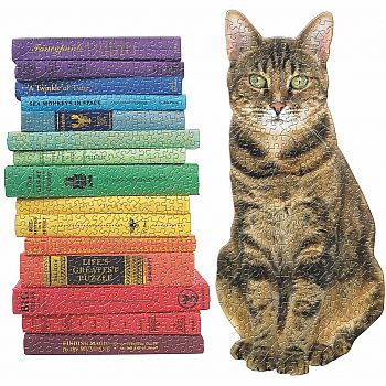 Queen of the Stacks Cat and Books Shape puzzles