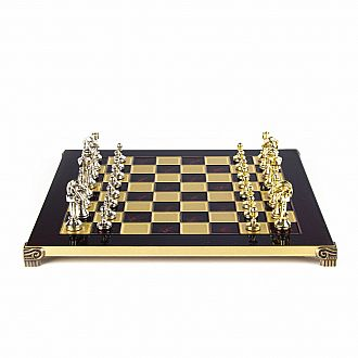 "Metal Staunton Chess set, 14"" Red board and gold/silver chessmen"