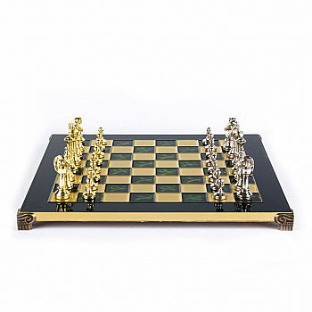 "Metal Staunton Chess set ,14"" Green board and gold/silver chessmen"