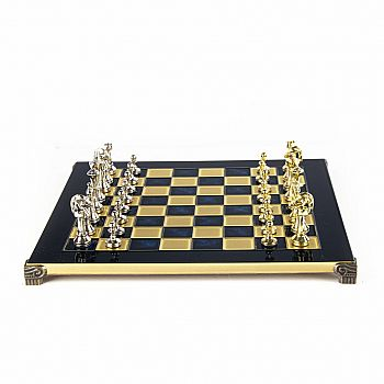 "Metal Staunton Chess set, 14"" Blue board and gold/silver chessmen"