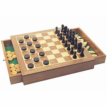 "Chess Set: 12"" chest w/ drawers and checkers"