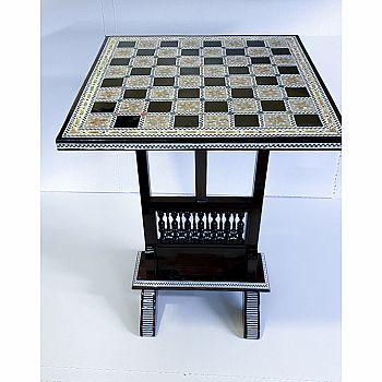 Chess Table Mother of Pearl Folding